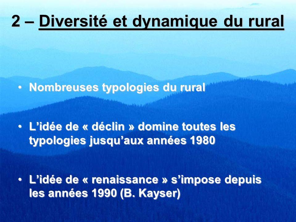 2 – Diversité et dynamique du rural Nombreuses typologies du ruralNombreuses typologies du rural Lidée de « déclin » domine toutes les typologies jusq