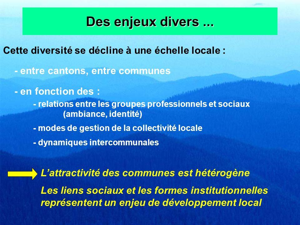 Des enjeux divers... Cette diversité se décline à une échelle locale : - entre cantons, entre communes - en fonction des : - relations entre les group