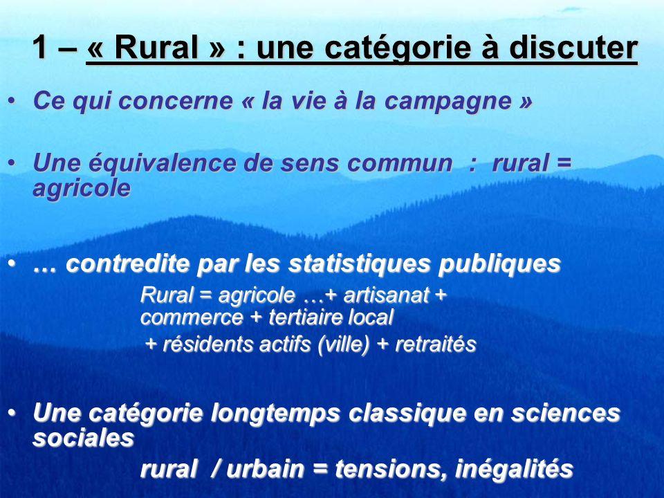 1 – « Rural » : une catégorie à discuter Ce qui concerne « la vie à la campagne »Ce qui concerne « la vie à la campagne » Une équivalence de sens comm