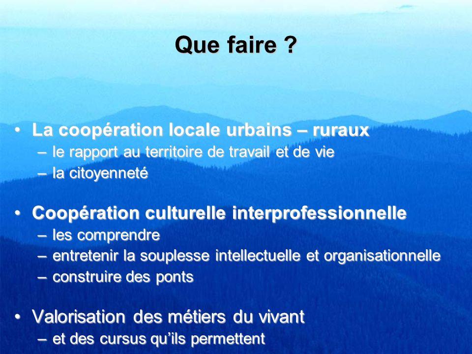 Que faire ? La coopération locale urbains – rurauxLa coopération locale urbains – ruraux –le rapport au territoire de travail et de vie –la citoyennet