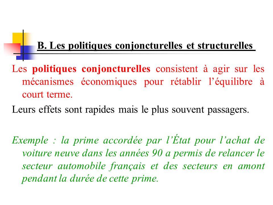 B. Les politiques conjoncturelles et structurelles Les politiques conjoncturelles consistent à agir sur les mécanismes économiques pour rétablir léqui