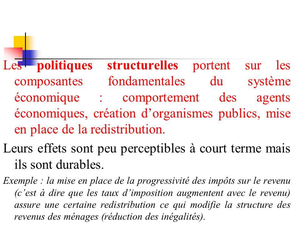 Les politiques structurelles portent sur les composantes fondamentales du système économique : comportement des agents économiques, création dorganism