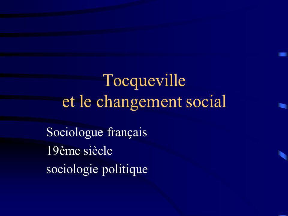 Légalisation des conditions Pour Tocqueville, les sociétés modernes sont caractérisées par une tendance fondamentale : celle de légalisation des conditions.