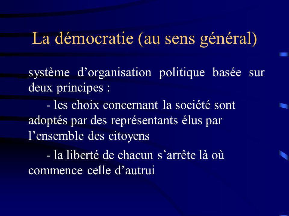 La démocratie (au sens général) système dorganisation politique basée sur deux principes : - les choix concernant la société sont adoptés par des repr
