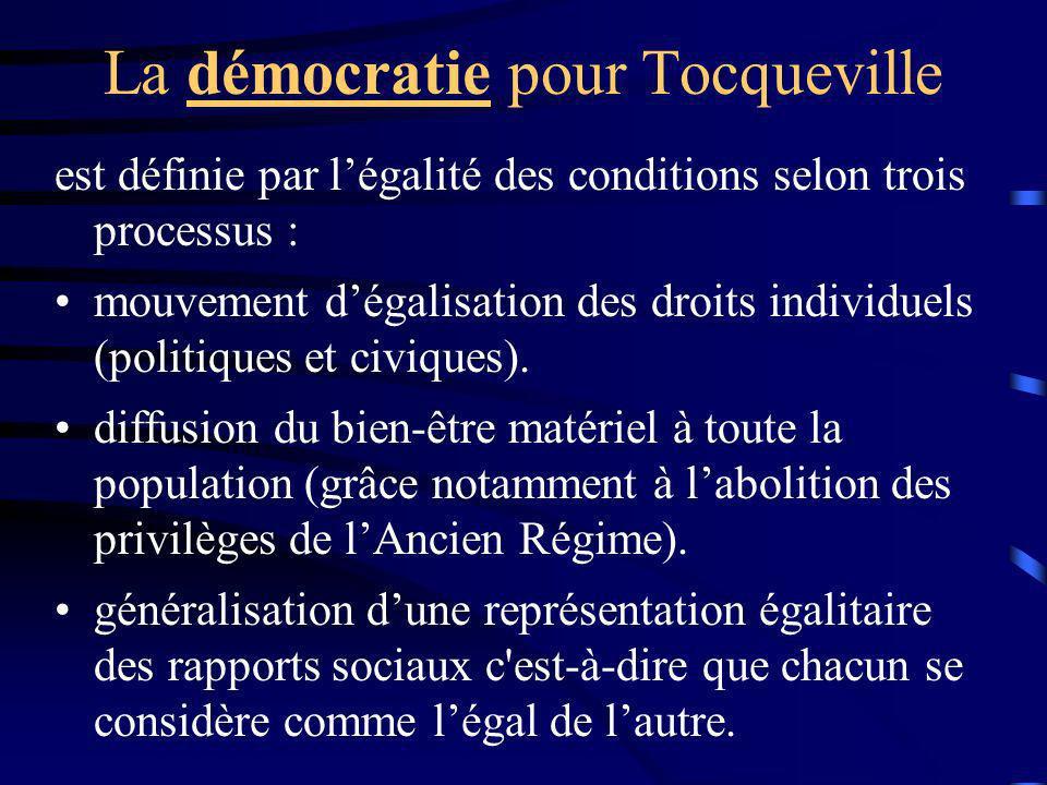 La démocratie pour Tocqueville est définie par légalité des conditions selon trois processus : mouvement dégalisation des droits individuels (politiqu