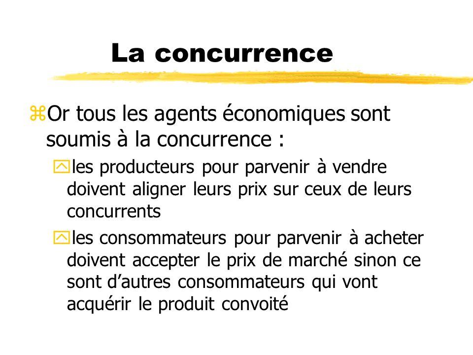 La concurrence zOr tous les agents économiques sont soumis à la concurrence : yles producteurs pour parvenir à vendre doivent aligner leurs prix sur c