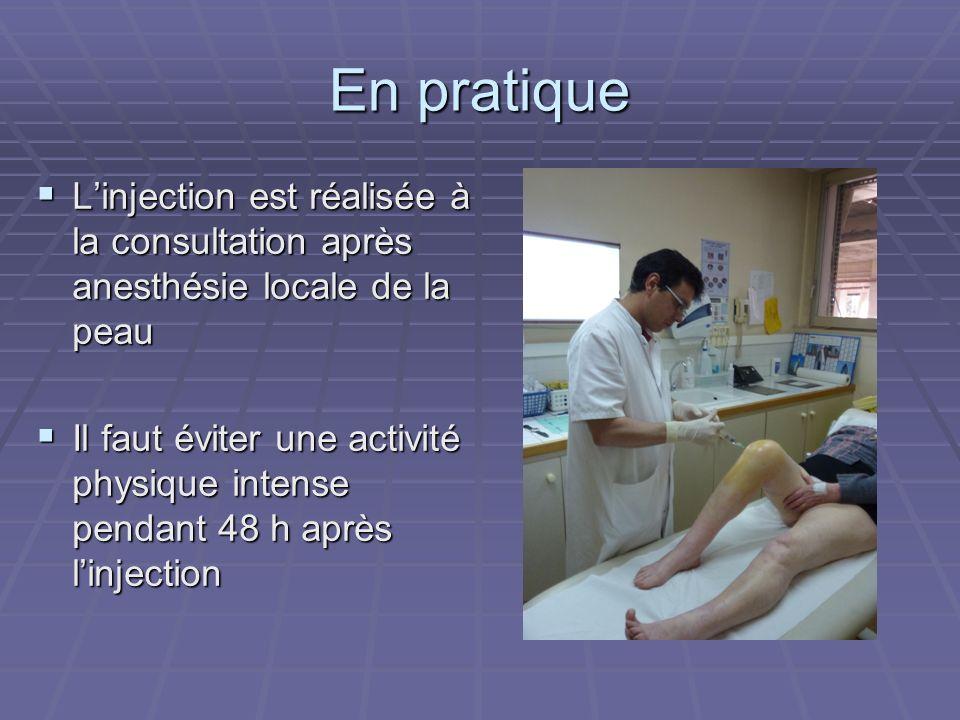 En pratique Linjection est réalisée à la consultation après anesthésie locale de la peau Linjection est réalisée à la consultation après anesthésie lo