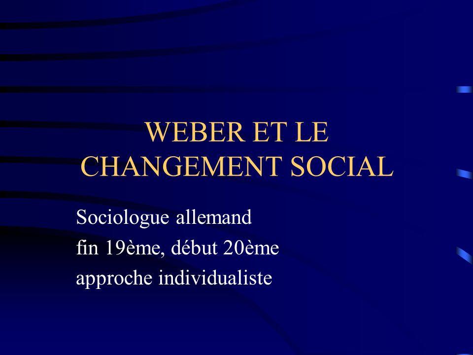 WEBER ET LE CHANGEMENT SOCIAL Sociologue allemand fin 19ème, début 20ème approche individualiste