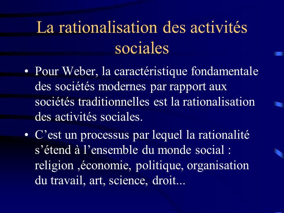La rationalisation des activités sociales Pour Weber, la caractéristique fondamentale des sociétés modernes par rapport aux sociétés traditionnelles e