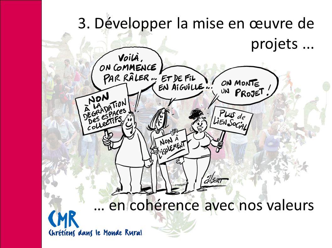 3. Développer la mise en œuvre de projets... … en cohérence avec nos valeurs
