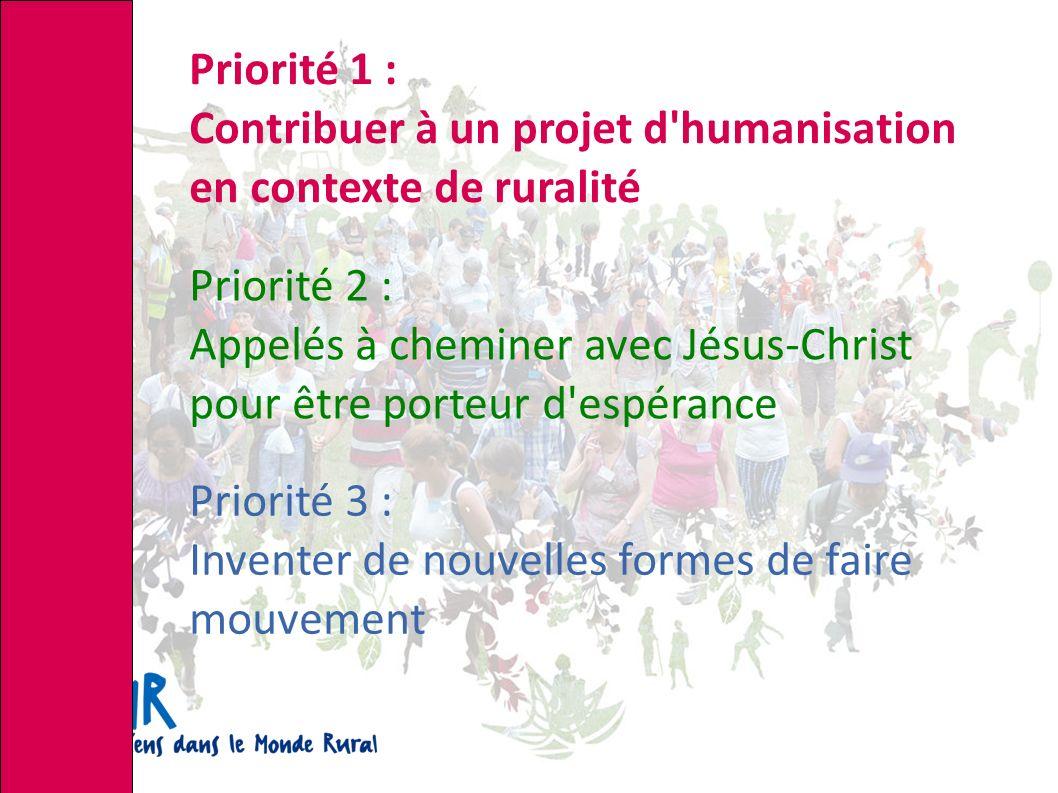 Priorité 1 : Contribuer à un projet d humanisation en contexte de ruralité Priorité 2 : Appelés à cheminer avec Jésus-Christ pour être porteur d espérance Priorité 3 : Inventer de nouvelles formes de faire mouvement