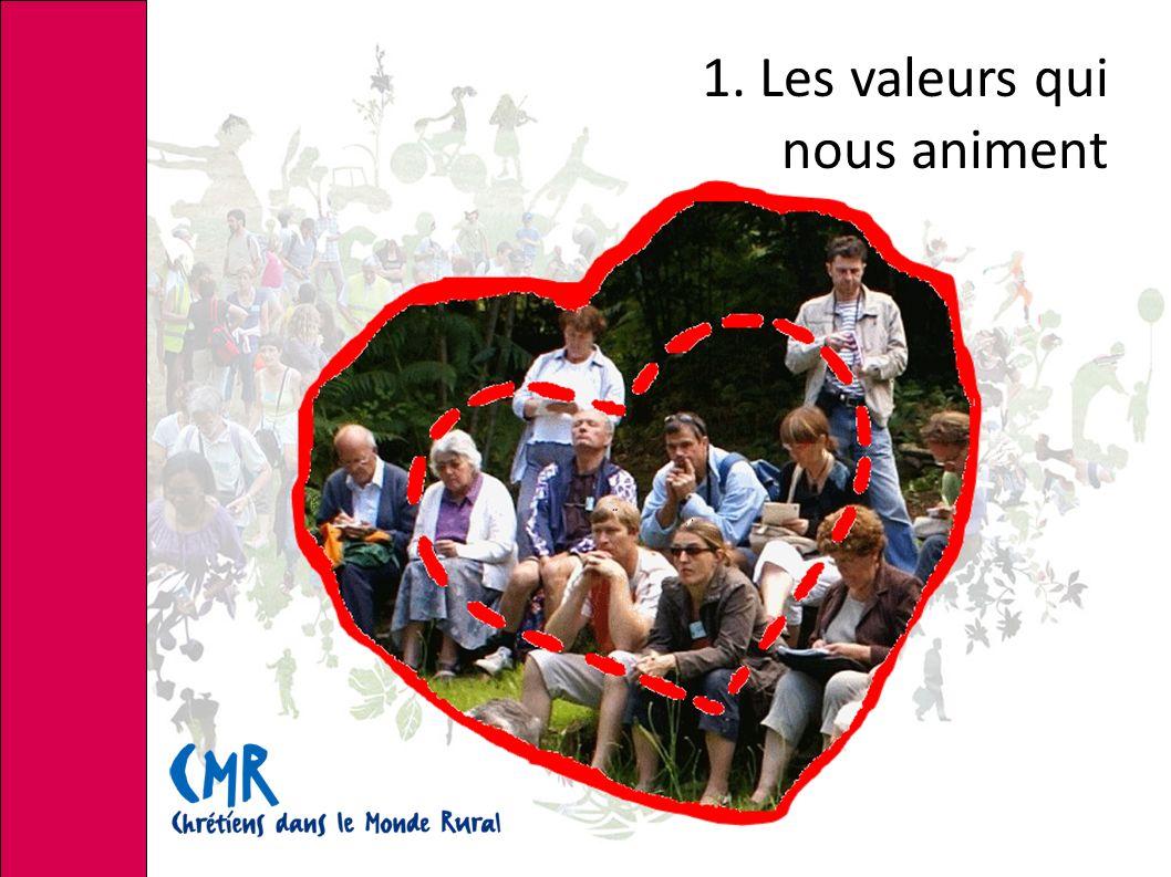1. Les valeurs qui nous animent « … prendre notre part dans l'élaboration d'un nouveau projet de société... »