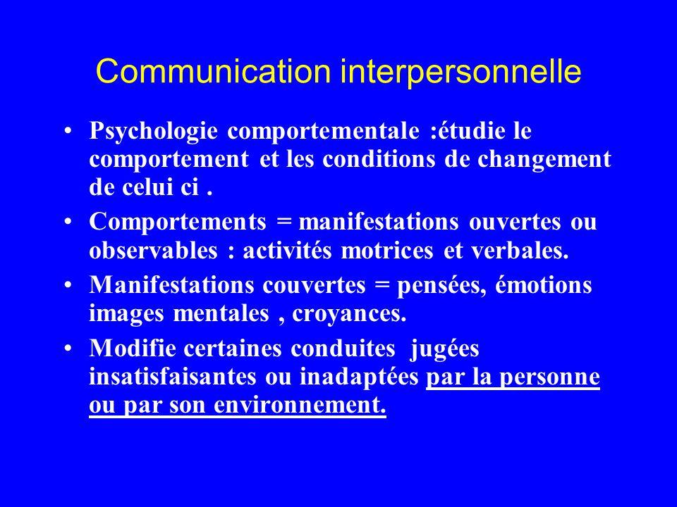 Communication interpersonnelle Psychologie comportementale :étudie le comportement et les conditions de changement de celui ci. Comportements = manife