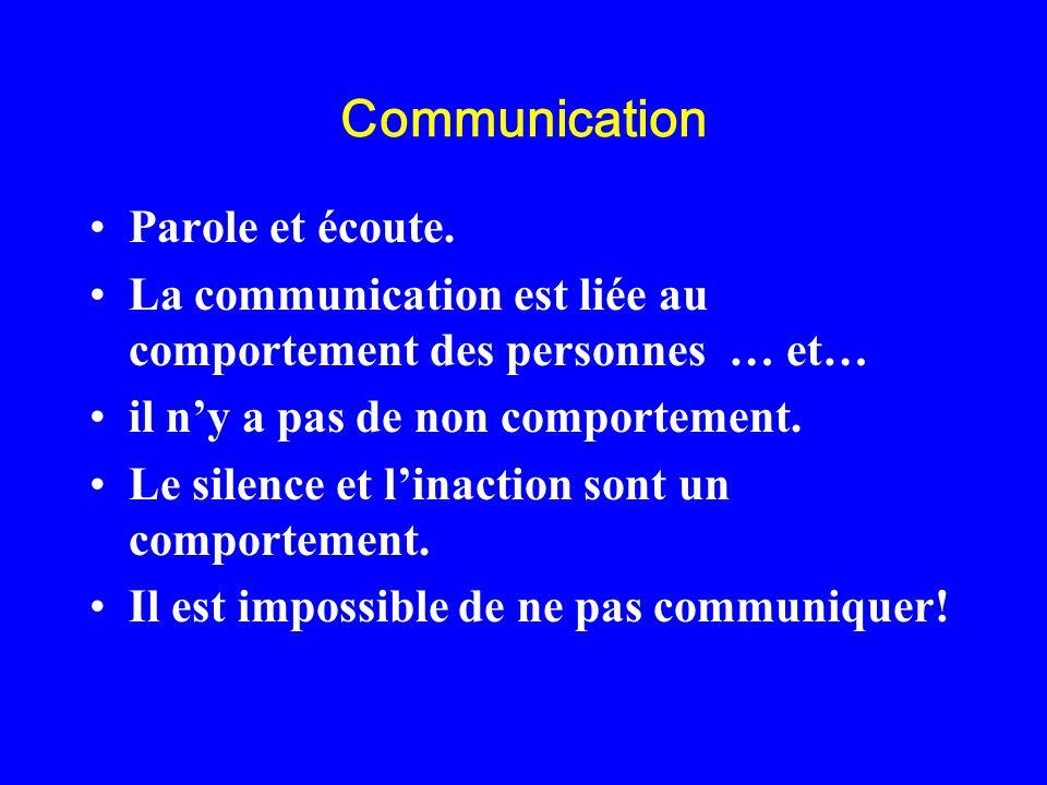 Communication Parole et écoute. La communication est liée au comportement des personnes … et… il ny a pas de non comportement. Le silence et linaction