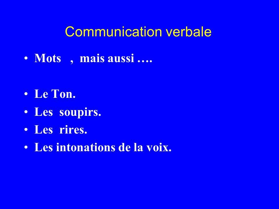 Communication verbale Mots, mais aussi …. Le Ton. Les soupirs. Les rires. Les intonations de la voix.