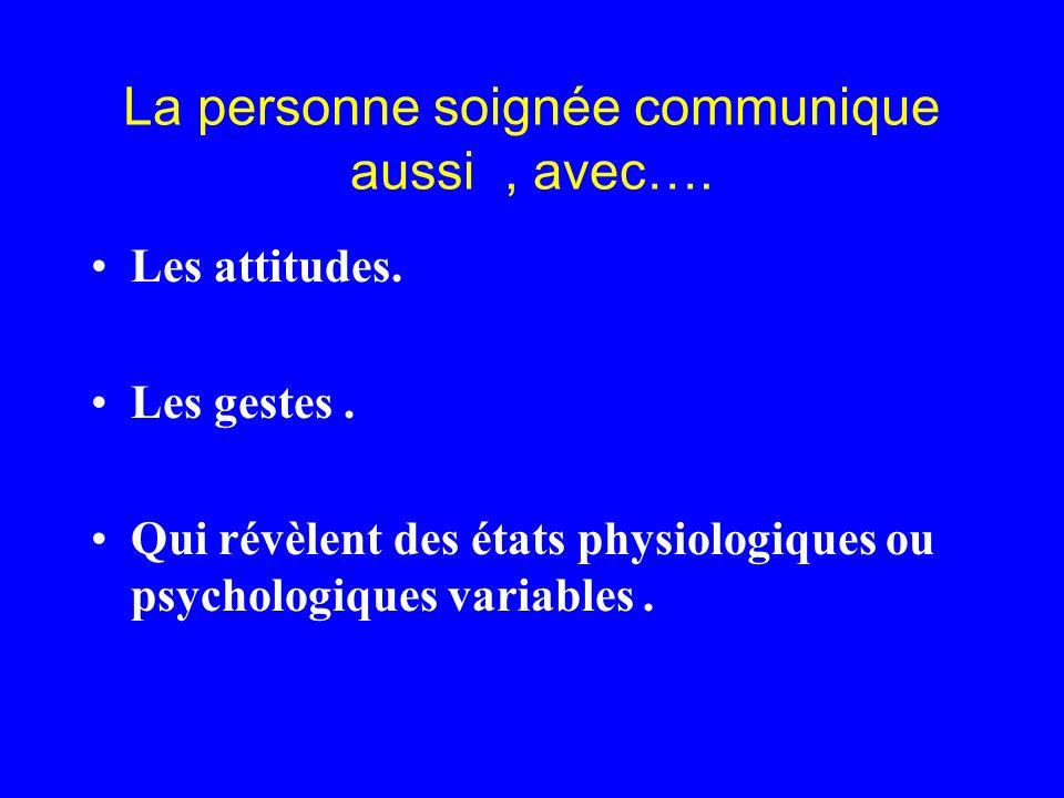 La personne soignée communique aussi, avec…. Les attitudes. Les gestes. Qui révèlent des états physiologiques ou psychologiques variables.
