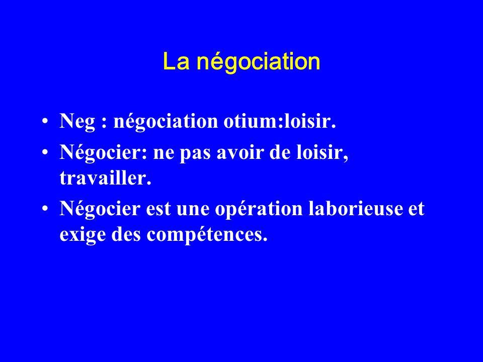 La négociation Neg : négociation otium:loisir. Négocier: ne pas avoir de loisir, travailler. Négocier est une opération laborieuse et exige des compét