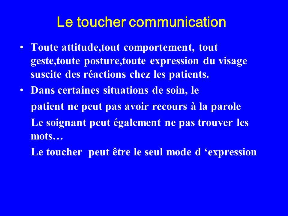 Le toucher communication Toute attitude,tout comportement, tout geste,toute posture,toute expression du visage suscite des réactions chez les patients