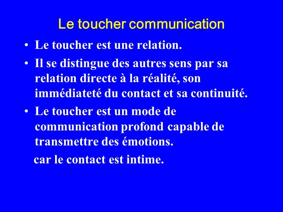 Le toucher communication Le toucher est une relation. Il se distingue des autres sens par sa relation directe à la réalité, son immédiateté du contact