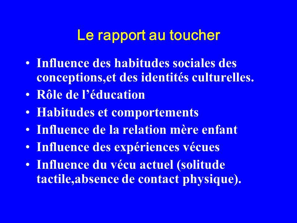 Le rapport au toucher Influence des habitudes sociales des conceptions,et des identités culturelles. Rôle de léducation Habitudes et comportements Inf