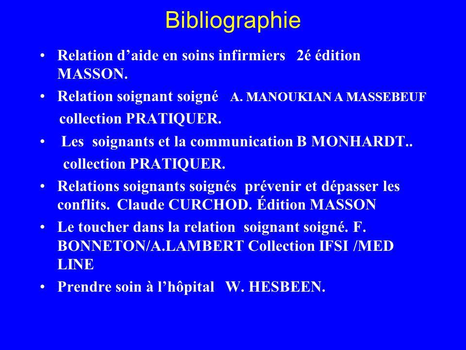 Bibliographie Relation daide en soins infirmiers 2é édition MASSON. Relation soignant soigné A. MANOUKIAN A MASSEBEUF collection PRATIQUER. Les soigna