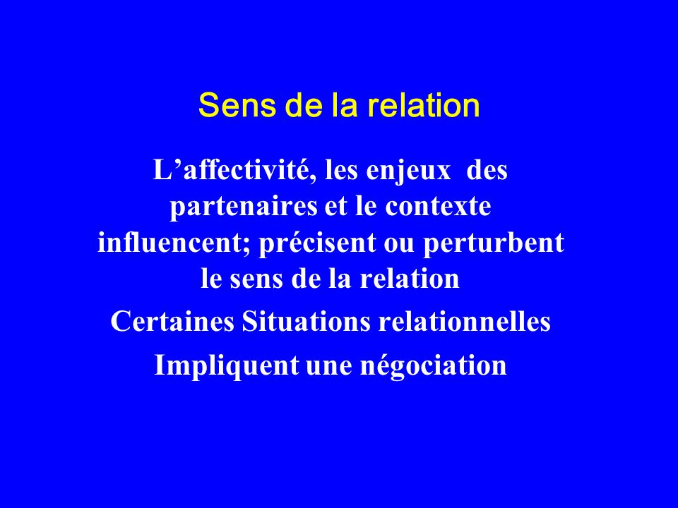 Sens de la relation Laffectivité, les enjeux des partenaires et le contexte influencent; précisent ou perturbent le sens de la relation Certaines Situ