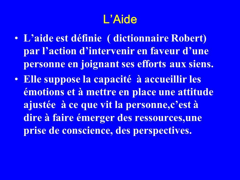 LAide Laide est définie ( dictionnaire Robert) par laction dintervenir en faveur dune personne en joignant ses efforts aux siens. Elle suppose la capa