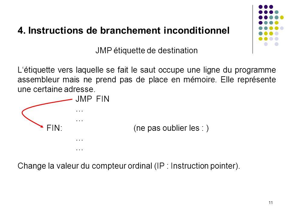 11 4. Instructions de branchement inconditionnel JMP étiquette de destination Létiquette vers laquelle se fait le saut occupe une ligne du programme a