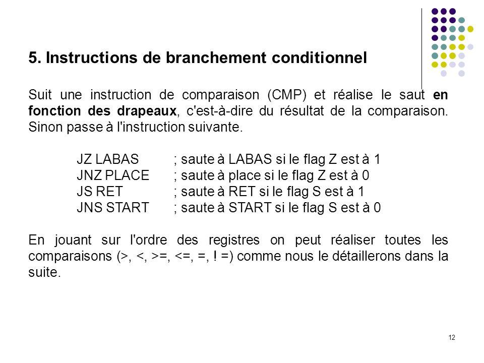 12 5. Instructions de branchement conditionnel Suit une instruction de comparaison (CMP) et réalise le saut en fonction des drapeaux, c'est-à-dire du