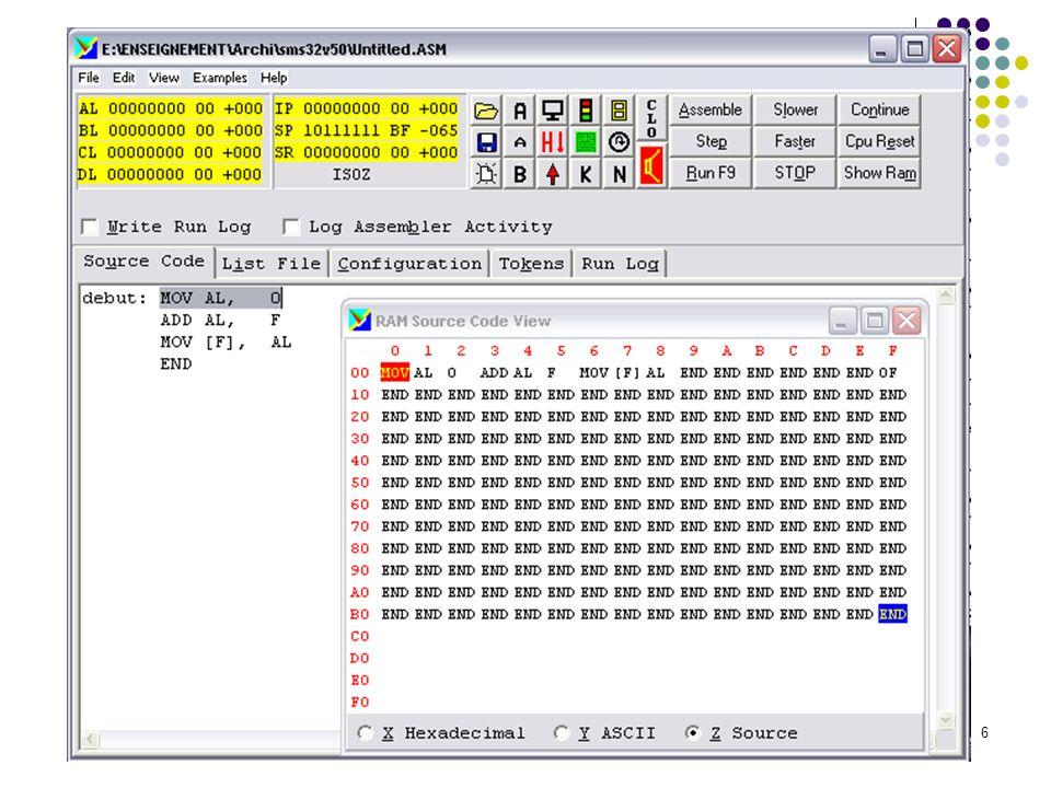 7 Les instructions de la machine simulée 1.Instruction de transfert (mémoire vers registre ou registre vers mémoire) MOV destination, source La source est recopiée dans la destination (attention a l ordre !) Les seules formes autorisées sont les suivantes : MOV AL, 1B ; range 1B (hexa) dans AL MOV BL, [C2] ; copie le mot d adresse C2 dans BL MOV [15], CL ; copie le registre CL dans le mot d adresse 15 Les transferts de mémoire à mémoire sont interdits car il faudrait 2 adresses mémoire pour une seule instruction (cf.