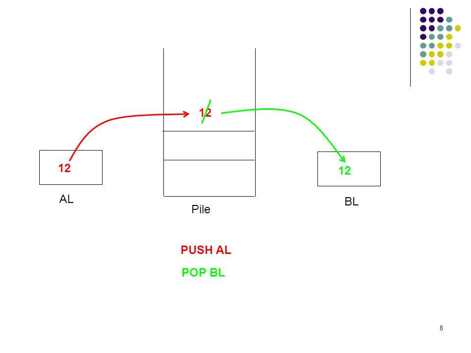 8 AL BL 12 PUSH AL POP BL 12 Pile