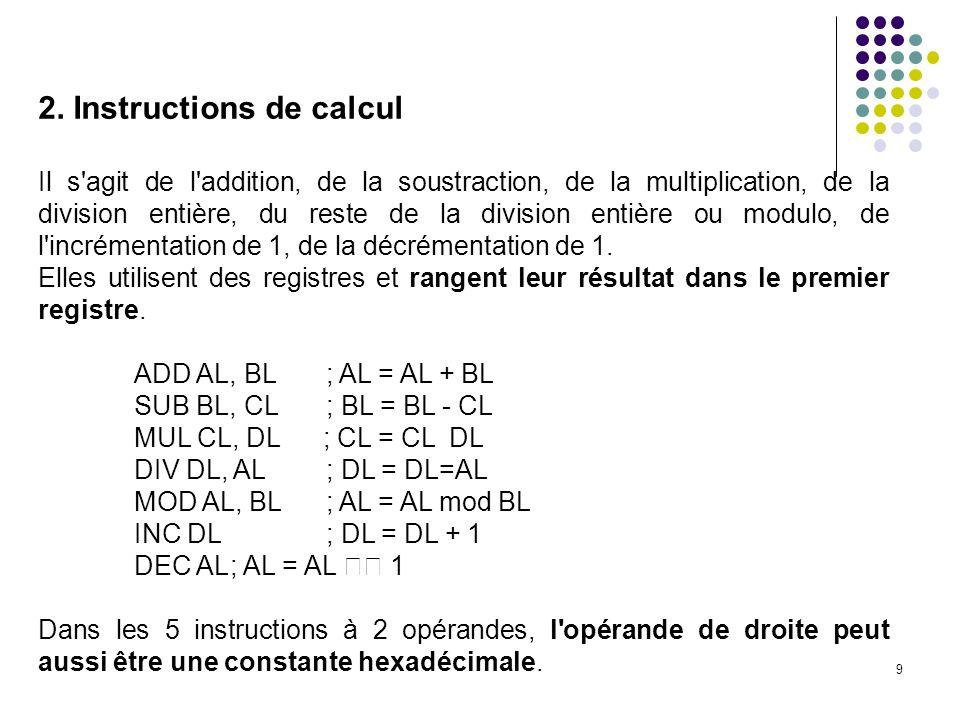 20 C est un des 5 modes d adressage classiques en assembleur : - ladressage immédiat : 8 (constante 8) - ladressage direct : [8] (mot mémoire d adresse 8) - ladressage indirect : [AL] (le registre AL contient l adresse voulue) - ladressage basé : [AL+4] (le contenu de AL + 4 est l adresse voulue) N existe pas dans la machine simulée.