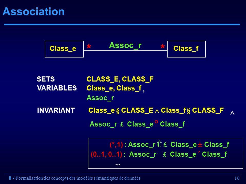 10 Association (*,1) : Assoc_r Û £ Class_e ± Class_f (0..1, 0..1) : Assoc_r £ Class_e ´ Class_f... II - Formalisation des concepts des modèles sémanti