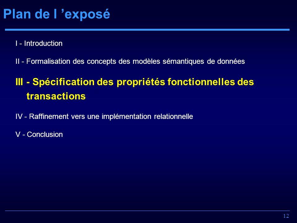12 Plan de l exposé I - Introduction II - Formalisation des concepts des modèles sémantiques de données III - Spécification des propriétés fonctionnel