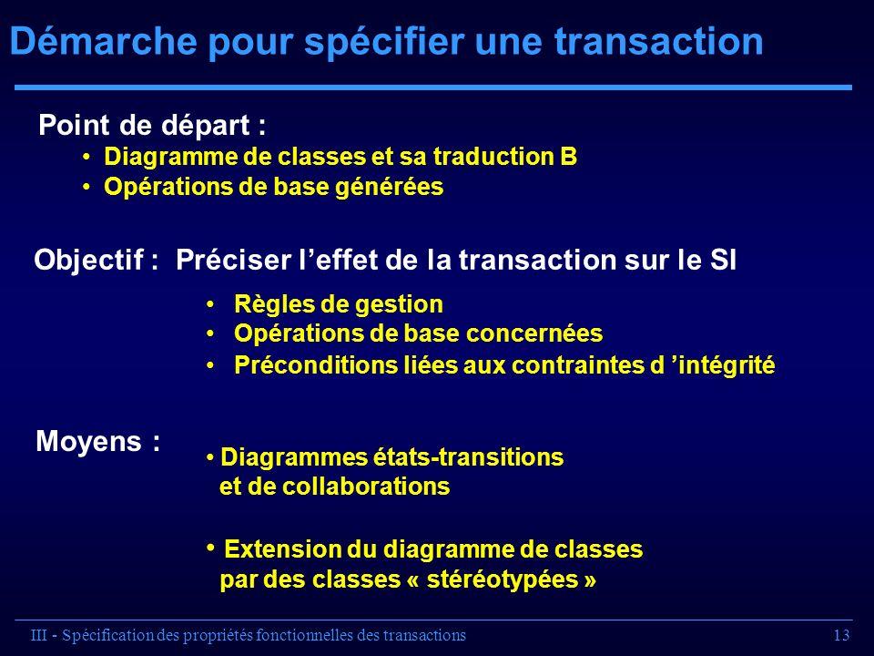 13 Démarche pour spécifier une transaction Objectif : Préciser leffet de la transaction sur le SI Règles de gestion Opérations de base concernées Préc