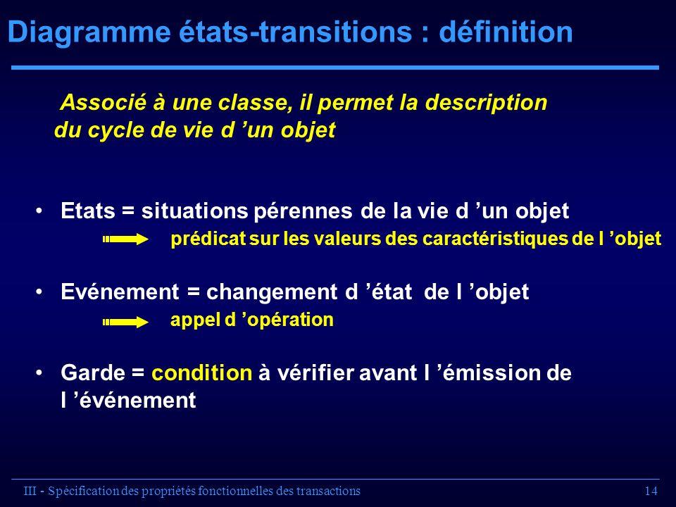 14 Diagramme états-transitions : définition Associé à une classe, il permet la description du cycle de vie d un objet Etats = situations pérennes de l