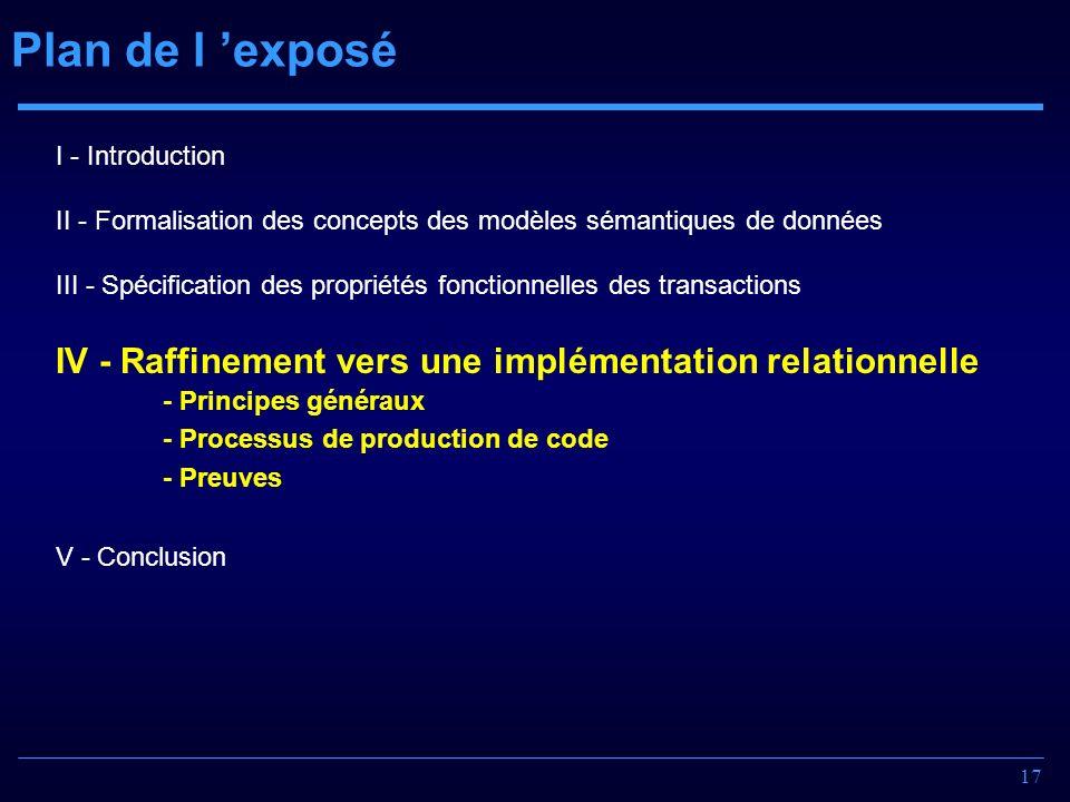 17 Plan de l exposé I - Introduction II - Formalisation des concepts des modèles sémantiques de données III - Spécification des propriétés fonctionnel