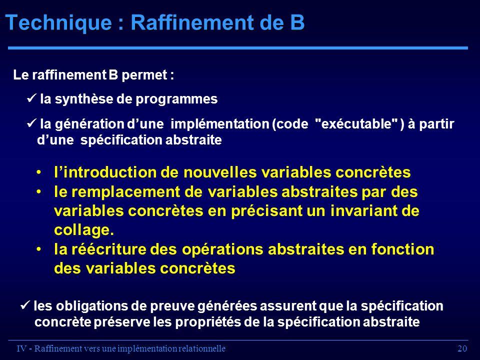 20 Technique : Raffinement de B IV - Raffinement vers une implémentation relationnelle la synthèse de programmes la génération dune implémentation (co