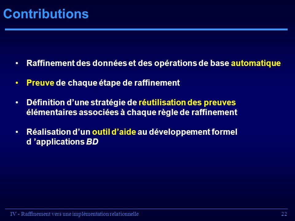 22 Contributions Raffinement des données et des opérations de base automatique Preuve de chaque étape de raffinement Définition dune stratégie de réut