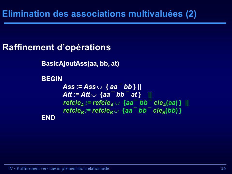26 Elimination des associations multivaluées (2) || refcle A := refcle A {aa ¯ bb ¯ cle A (aa) } || refcle B := refcle B {aa ¯ bb ¯ cle B (bb) } Basic