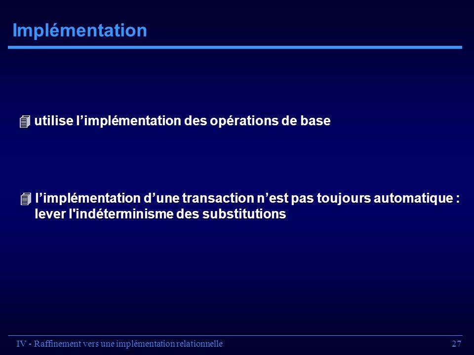 27 Implémentation utilise limplémentation des opérations de base limplémentation dune transaction nest pas toujours automatique : lever l'indéterminis