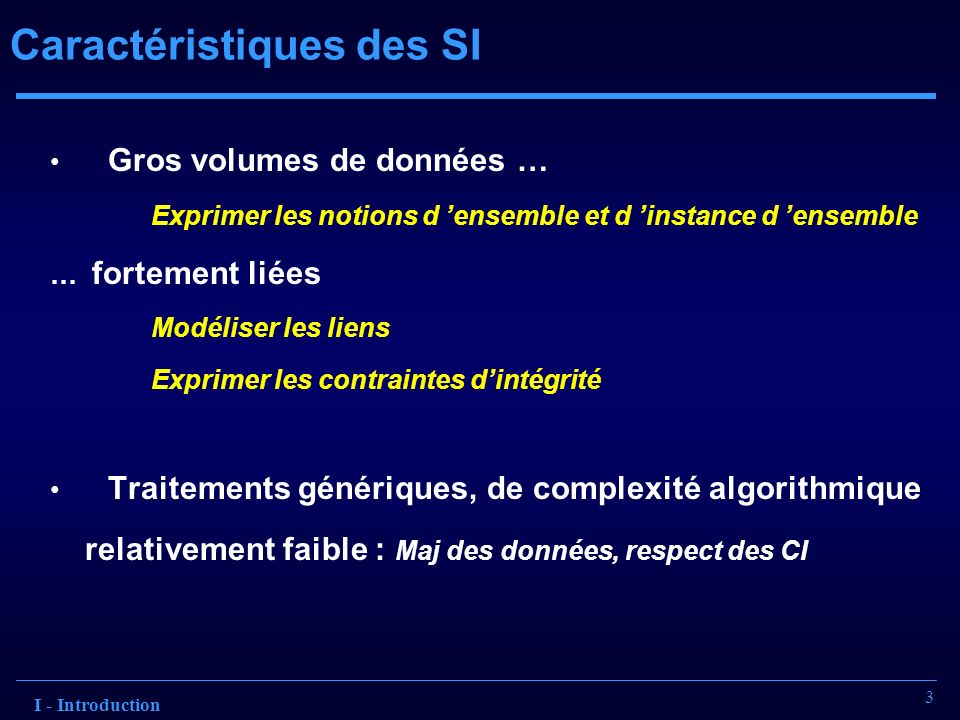 3 Caractéristiques des SI I - Introduction Gros volumes de données … Exprimer les notions d ensemble et d instance d ensemble … fortement liées Modéli