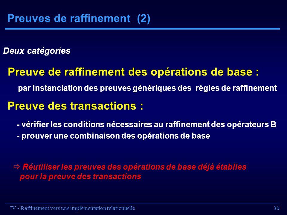 30 Preuves de raffinement (2) Deux catégories - vérifier les conditions nécessaires au raffinement des opérateurs B - prouver une combinaison des opér