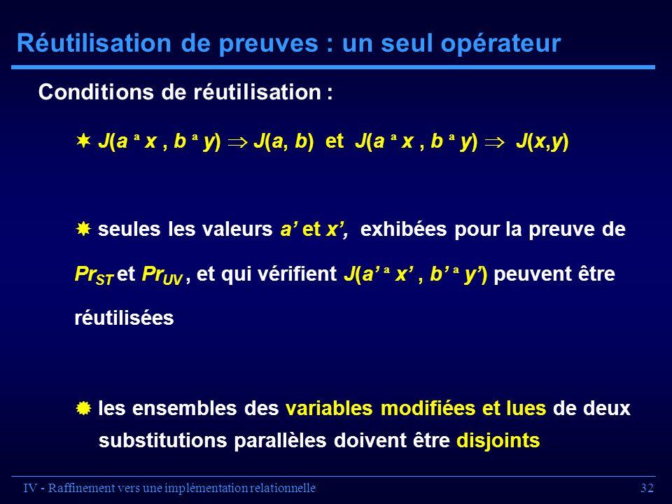 32 Réutilisation de preuves : un seul opérateur J(a ª x, b ª y) J(a, b) et J(a ª x, b ª y) J(x,y) seules les valeurs a et x, exhibées pour la preuve d