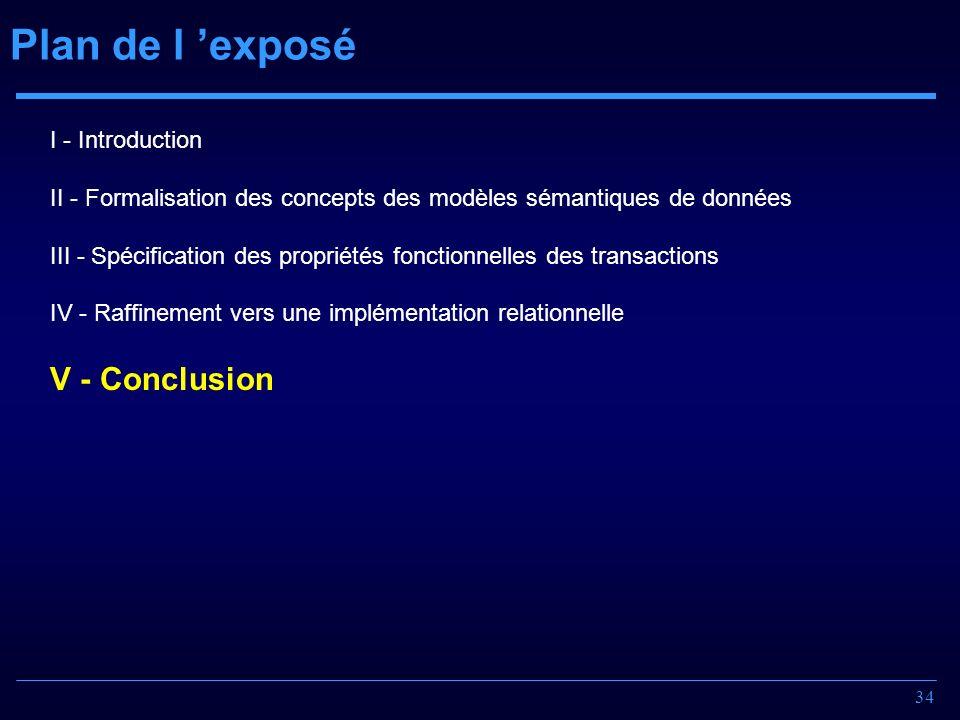 34 Plan de l exposé I - Introduction II - Formalisation des concepts des modèles sémantiques de données III - Spécification des propriétés fonctionnel