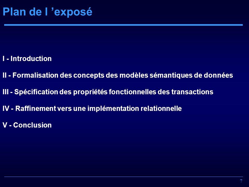 7 Plan de l exposé I - Introduction II - Formalisation des concepts des modèles sémantiques de données III - Spécification des propriétés fonctionnell