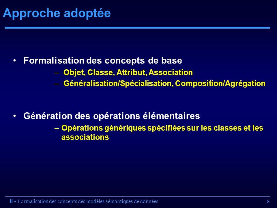 8 Approche adoptée Formalisation des concepts de base – Objet, Classe, Attribut, Association – Généralisation/Spécialisation, Composition/Agrégation G