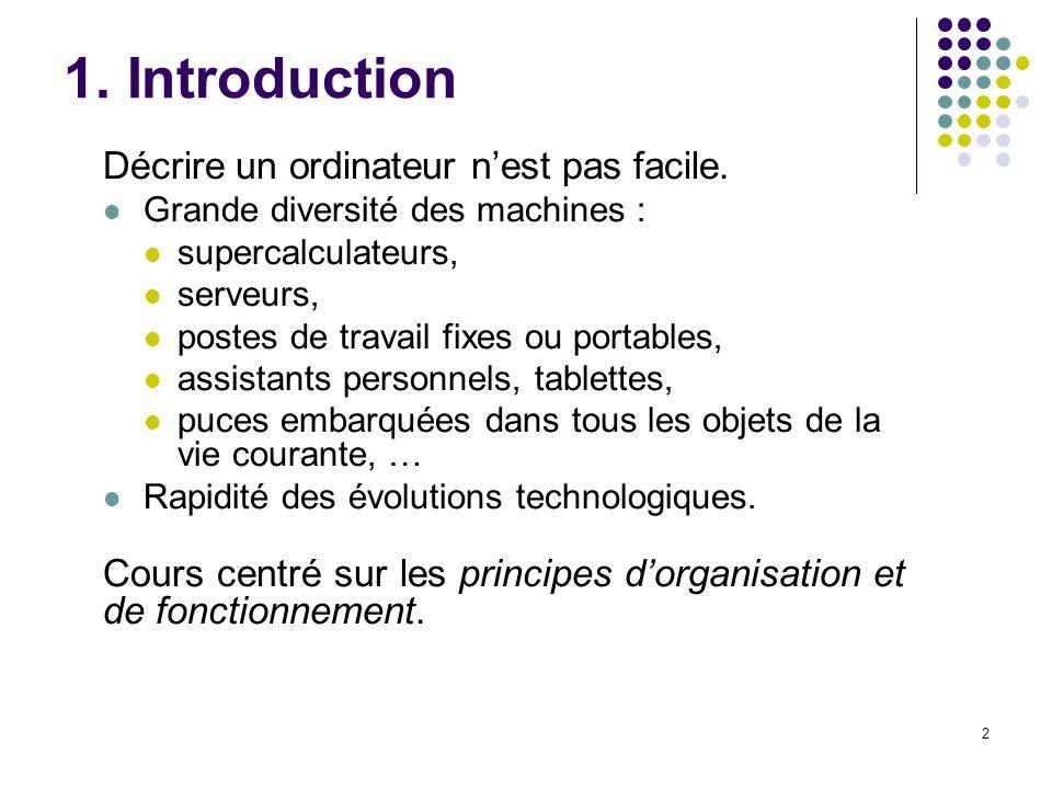 2 1.Introduction Décrire un ordinateur nest pas facile.