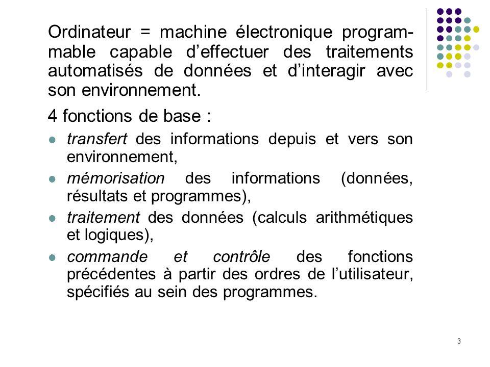 3 Ordinateur = machine électronique program- mable capable deffectuer des traitements automatisés de données et dinteragir avec son environnement.