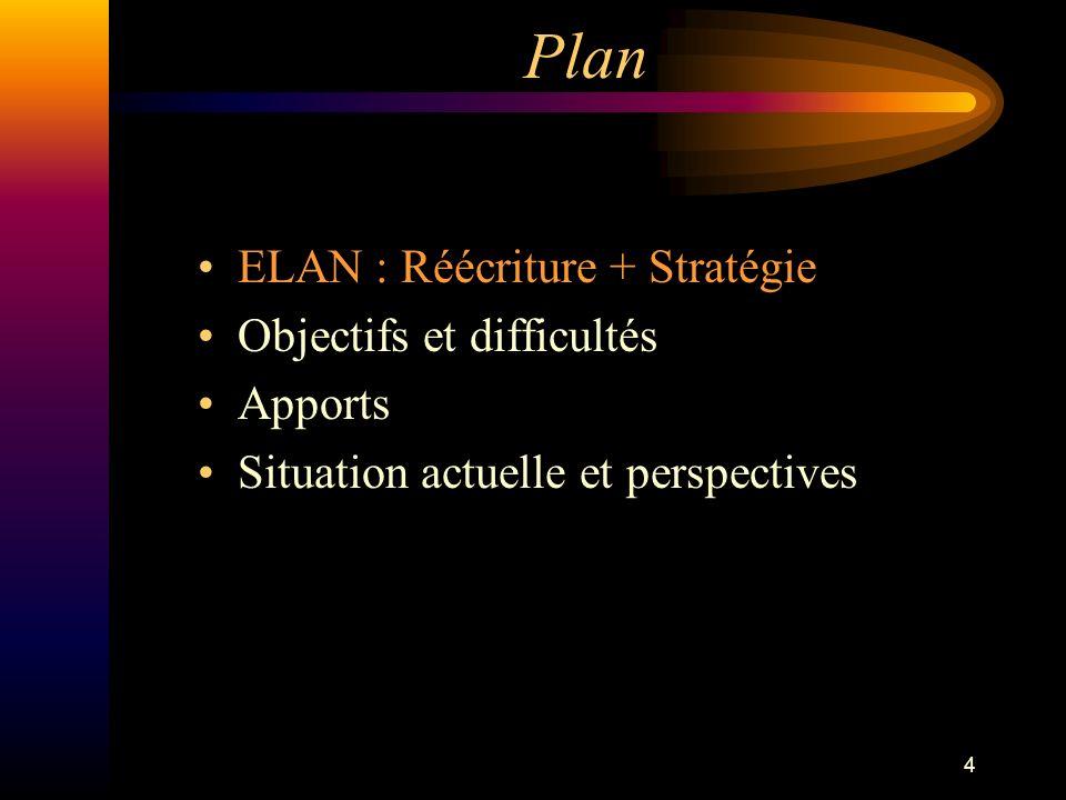 15 Plan ELAN : Réécriture + Stratégie Objectifs et difficultés Apports Situation actuelle et perspectives